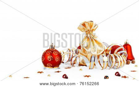 Red Christmas Ball And Golden Bag With Gifts Isolated On White Background