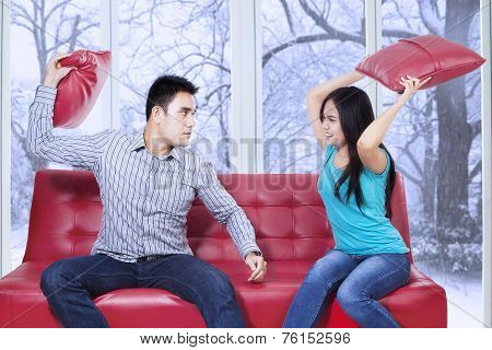 Furious Couple Hitting Each Other