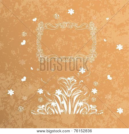 Vector card. Round  oriental pattern on vintage