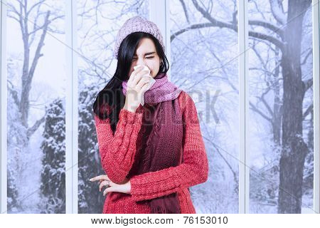 Girl With Sweater Having Flu