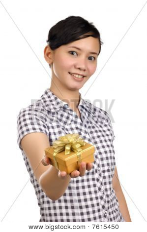Woman Gives Present