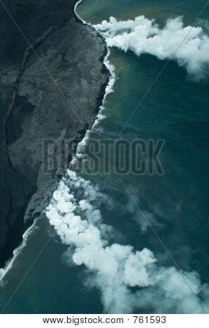 Big Island aerial shot - lava meets ocean
