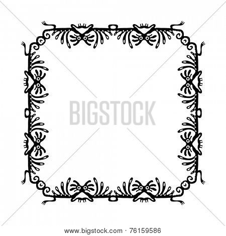 Black corners elements with dragons or monsters, vector illustration