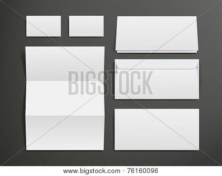 Blank Envelopes, Business Card And Folder
