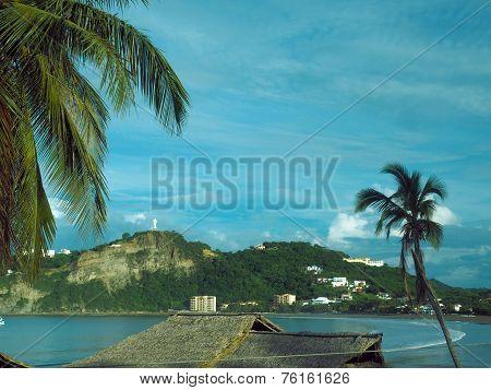 Beach Landscape San Juan Del Sur Nicaragua With Statue Jesus Christ On Mountain