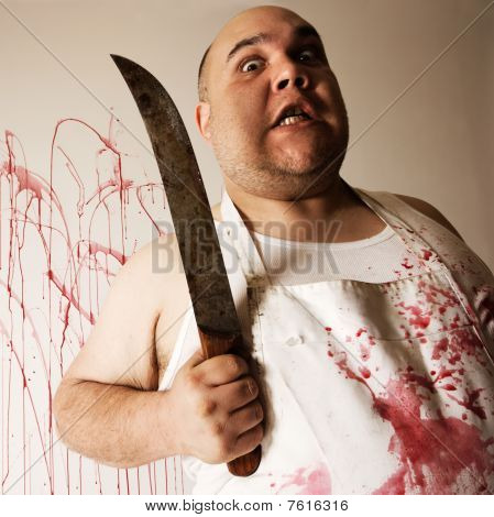 Mad Butcher With Knife