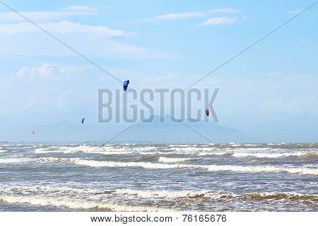 Kitesurfing On Beach Rasa In Armacao Dos Buzios Near Rio De Janeiro,   Brazil