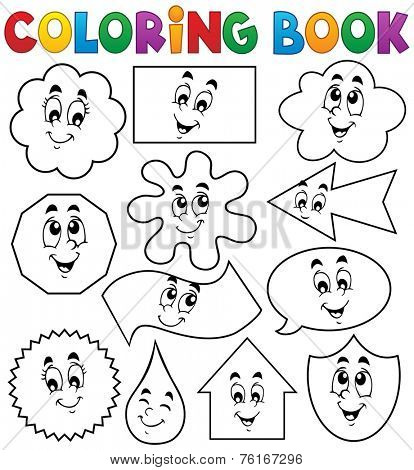 Coloring book various shapes 2 - eps10 vector illustration.