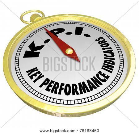 Key Performance Indicator words and acronym KPI on a golden compass to illustrate measurement metrics for finding production, producitivity success in output and results