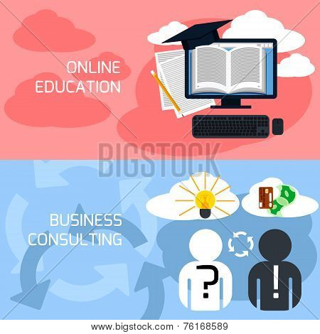 Concept of online education, business consulting