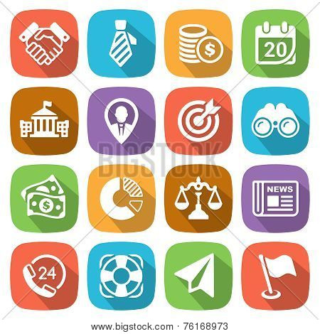 Trendy flat business and finance icon set 2 Vector