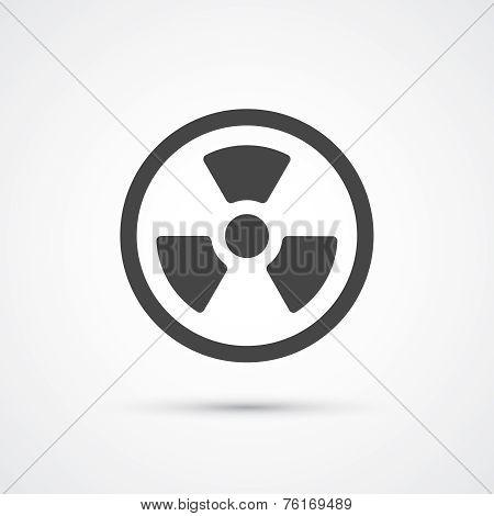 Trendy flat radiation warning icon