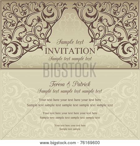 Orient invitation, brown and beige