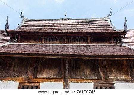 Old Wood Chapel Lanna Style In Thai Temple