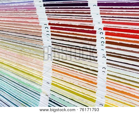 Colour swatches book with rainbow sample colors catalogue