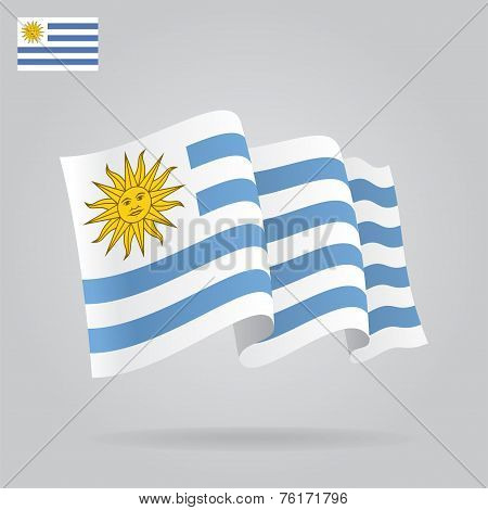 Flat and waving Uruguayan Flag. Vector
