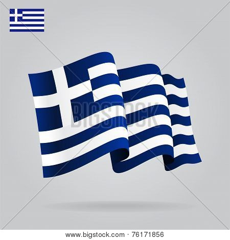 Flat and waving Greek Flag. Vector