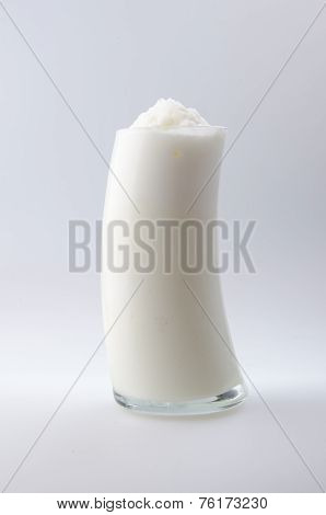 homemade yogurt milk shake on white
