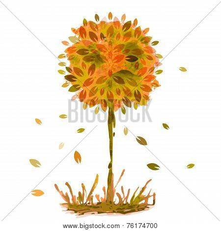 Watercolor Painting, Orange Autumn Tree With Falling Leaves In Grass. Vector Illustration Background