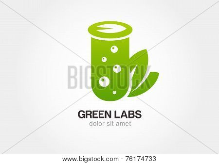 Green Flask With Leaves, Lab Icon. Vector Logo Design Template