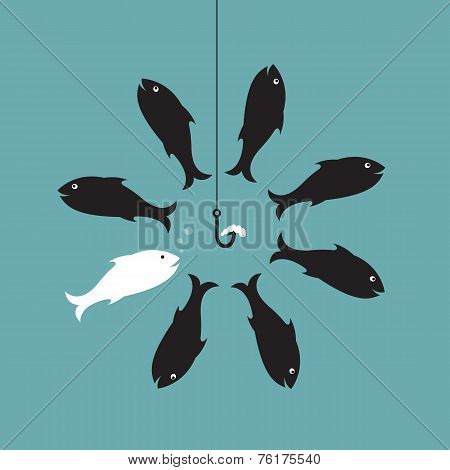Vector Image Of Fish And Earthworm And Hook. Different Concept.