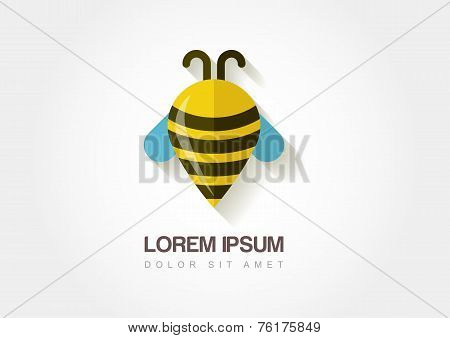 Abstract Bee Symbol. Stylized Waypoint. Vector Logo Icon Template.