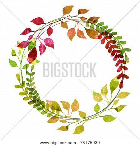 Watercolor Wreath From Colorful Autumn Leaves. Vector Illustration. Thanksgiving Greeting Card Templ