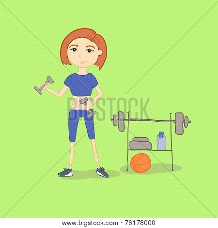 Vector. Hand Drawn Illustration Of A Fitness Woman Working Out W