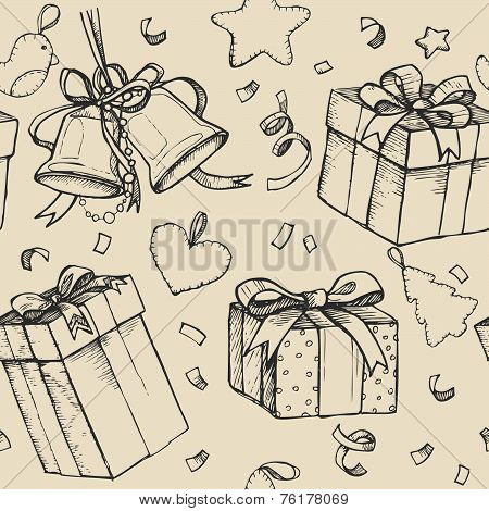 Vintage Hand - Drawing Background With Bells, Gift Boxes And Toy