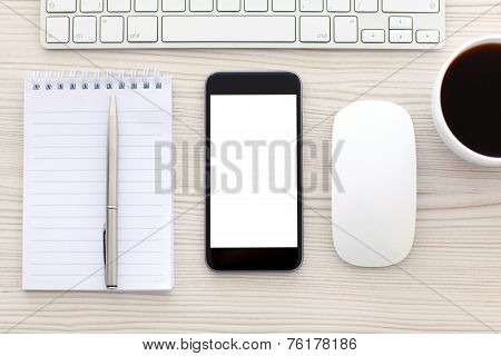 Phone With Isolated Screen Is On The Table