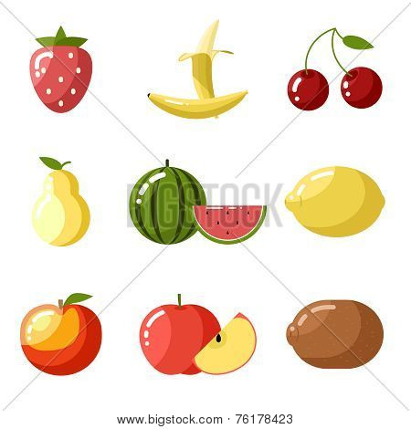 Flat design icons fresh fruit apple cherry watermelon kiwi strawberry lemon peach pear banana health