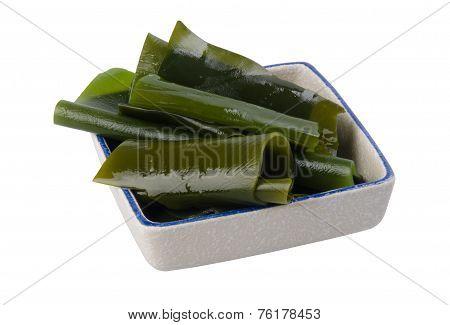 seaweed. Edible seaweed salad on white background
