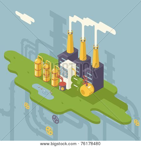 Isometric Retro Flat Factory Refinery Plant Manufacturing Products Processing Natural Resources with