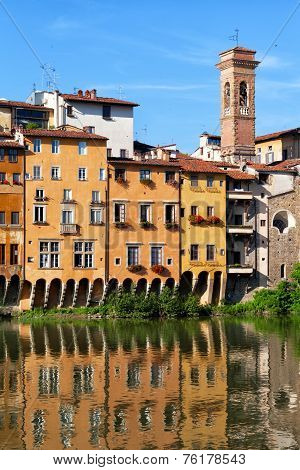 Houses on the bank of the river of Arno Florence