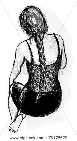Drawing of a beautiful woman's back with a braid - Vector illustration