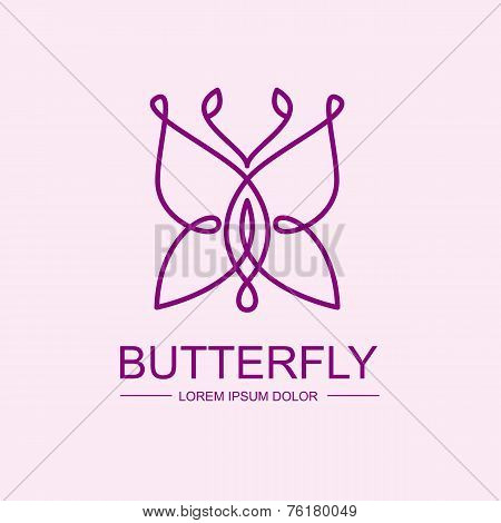 Abstract Infinity Butterfly Symbol. Vector Logo Template. Design Concept For Spa, Beauty Salon, Cosm