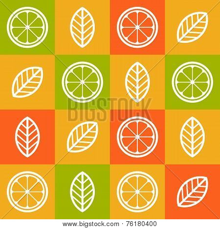 Colorful Orange Citrus Seamless Pattern. Vector Abstract Tile Background