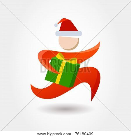 Running Man With Gift Box. Courier With New Year, Christmas Parcel. Delivery Themes Vector Logo Desi