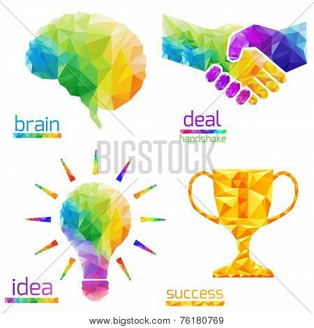 Idea Light Bulb, Human Brain, Handshake, Deal, Success, Cup