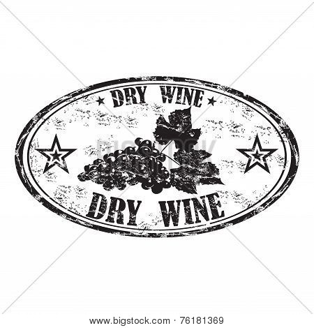 Dry wine grunge rubber stamp