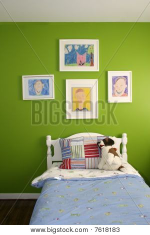 Bright Green Wall of a child's room