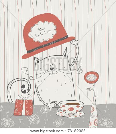 Cute vector background with cat in the  hat. Romantic bakery frame with place for text.