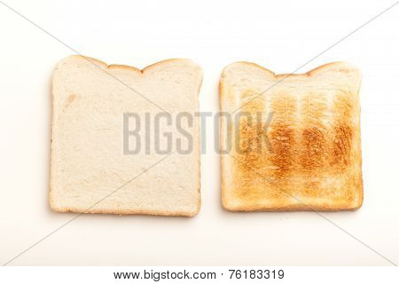 Two Slices Of Bread, Raw And Toasted