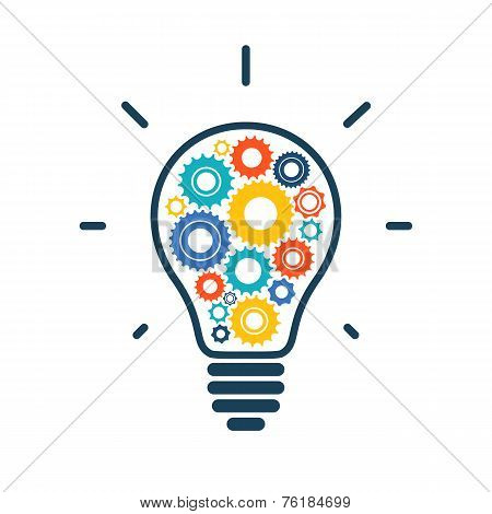 Simple light bulb conceptual icon with colorful gears inside
