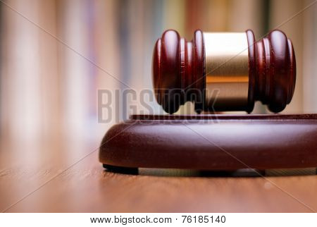 Close Up Wooden Law Gavel On The Table