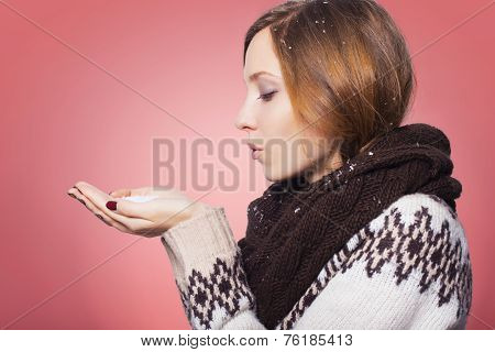 Beautiful Redhair Woman In Winter Outfit: Warm Sweater, Scarf And Hat With Snow All Over Her. Isolat