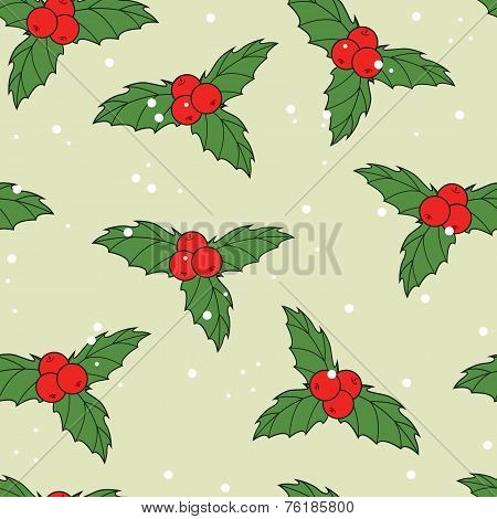 Christmas Seamless Pattern With Ilex Berries And Leaves