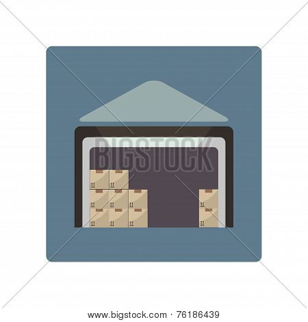Warehouse icon in flat design style