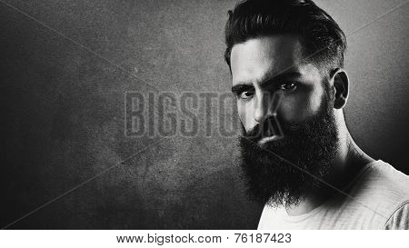 B/w Portrait Of A Handsome Bearded Man