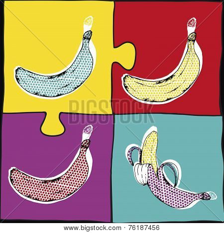 ??????Banana Pop Art.Vector illustration.Bananas set, vector hand drawing.Tropical fruit